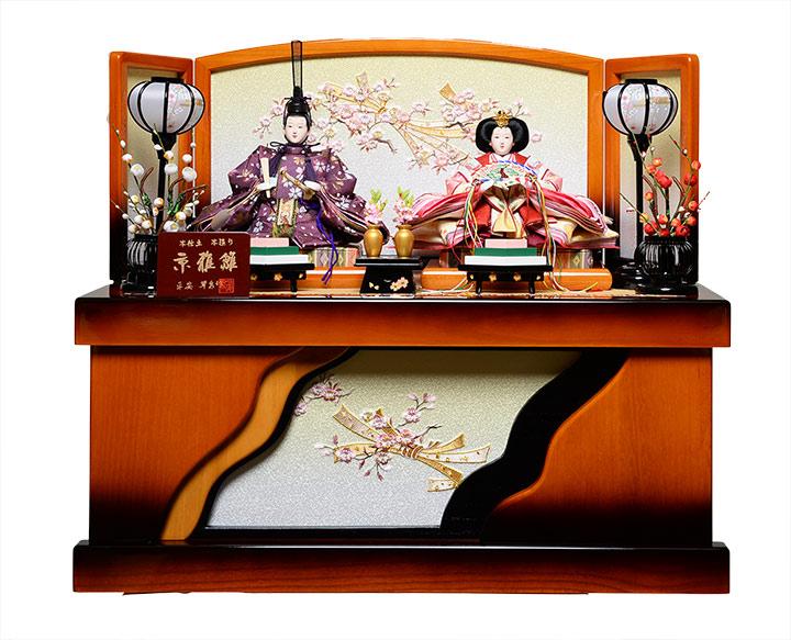 【雛人形収納飾】京三五親王:ほのか雛(桐家具調):平安翠泉作【雛人形】【親王飾】