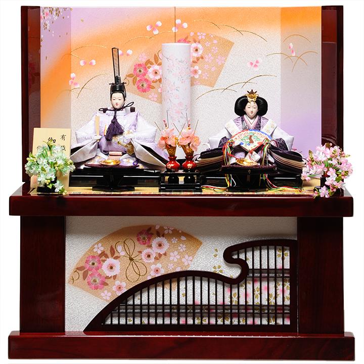 【雛人形収納飾】三五親王格子ワインさくら納飾:真珠雛:伏見屋監修【雛人形】【親王飾】