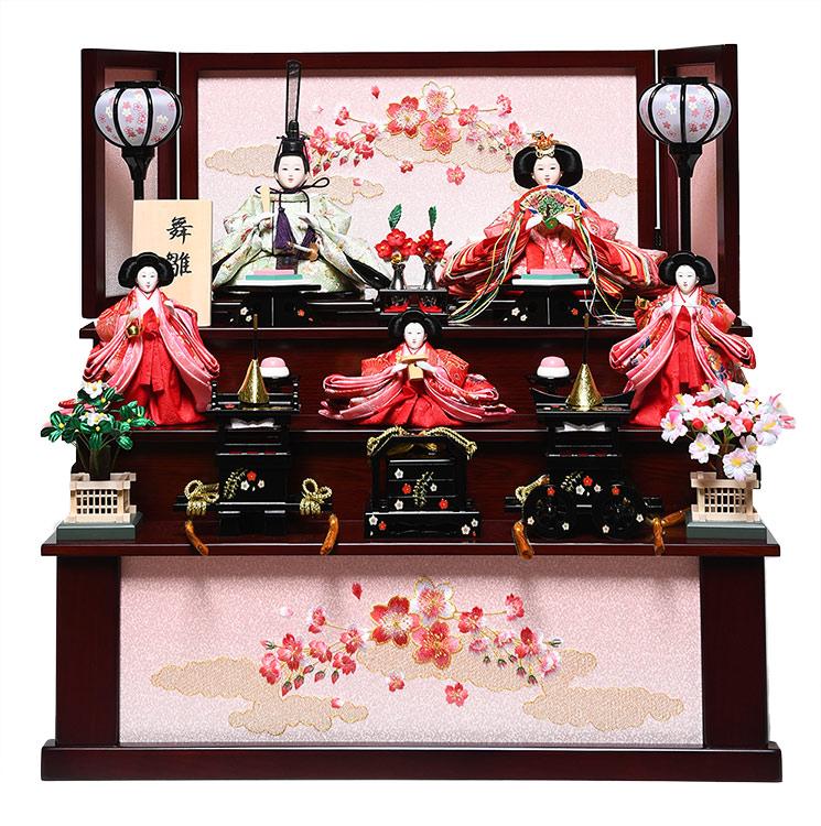 【雛人形収納飾】芥子親王柳官女:松鶴雛:華芳作【雛人形】【親王飾】