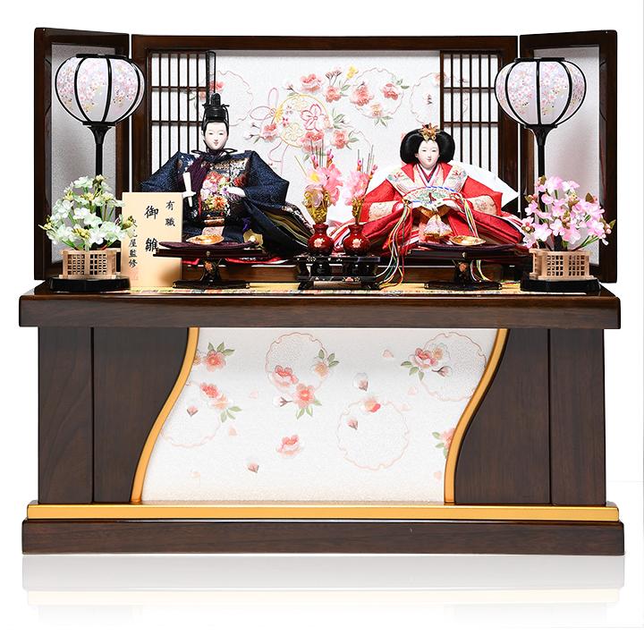 【雛人形収納飾】三五親王格子雪輪さくら収納飾:陽葵雛:伏見屋監修【雛人形】【親王飾】
