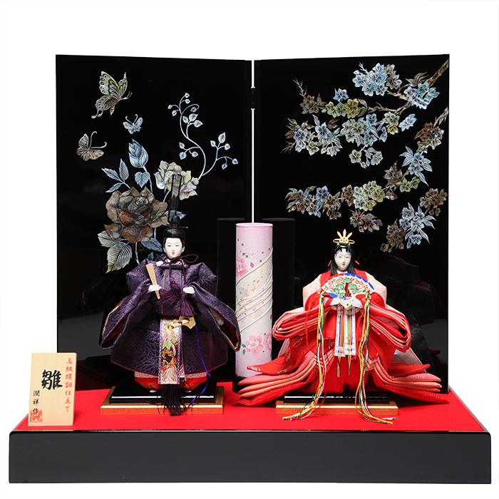 【立雛】【ひな人形】【親王飾】京三五桜刺繍立雛螺鈿飾:潤祥作【雛人形】