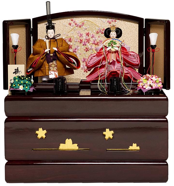 【立雛・おぼこ雛】四寸束帯立雛ワイン塗収納:華芳作【ひな人形】【親王飾】