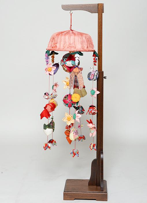 【つるし飾】【ひな人形】つるし雛 チリメン傘付花つるし飾り:スタンド付【吊るし雛】【雛人形】