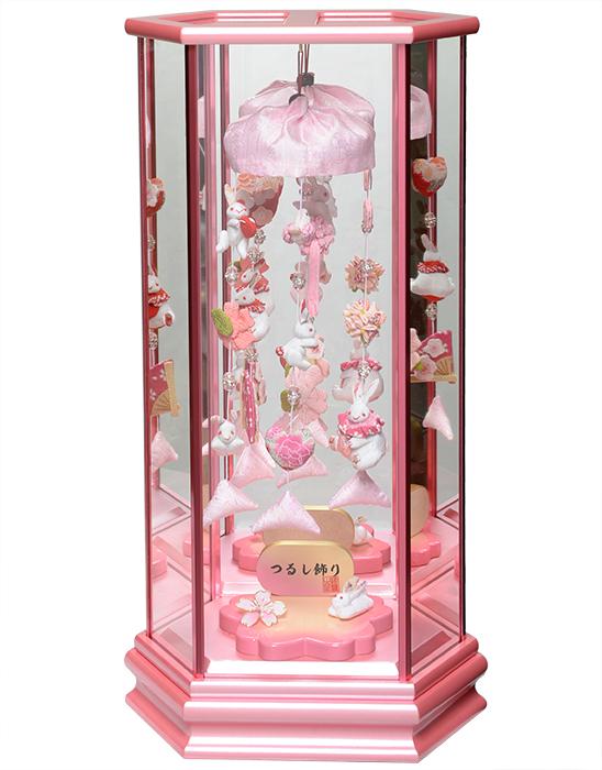 【ひな人形】つるし雛 うさぎと花のつるし飾 パールピンク六角鏡バックケース飾【吊るし雛】