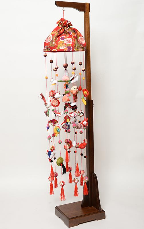 【つるし飾】【ひな人形】つるし雛 雅二輪つるし雛:「赤」:スタンド付【吊るし雛】【雛人形】