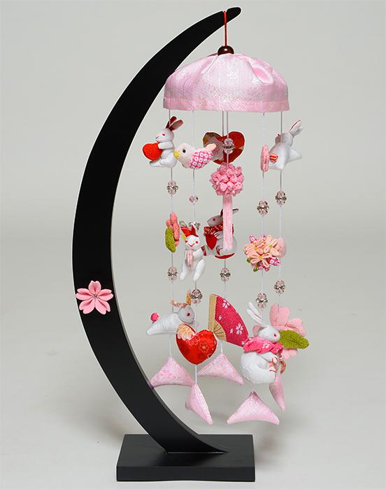 【雛人形】【つるし飾】うさぎと桜三日月 傘付卓上飾【吊るし雛】【ひな人形】