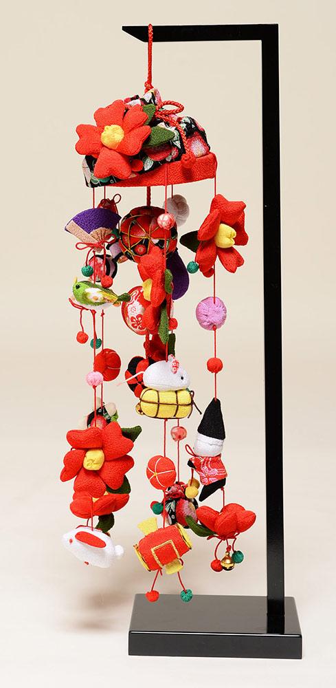 【ひな人形】つるし雛(特小)椿つるし吊るし雛:スタンド付【吊るし雛】