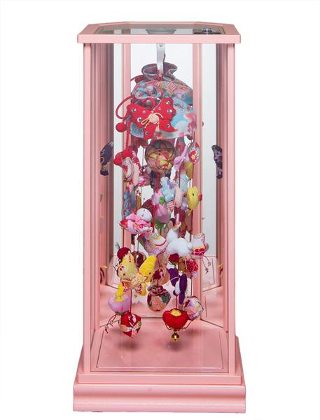 【つるし飾】【つるしケース飾】つるし雛アゲハ蝶飾ピンク六面体鏡バックケース【吊るし雛】【雛人形】
