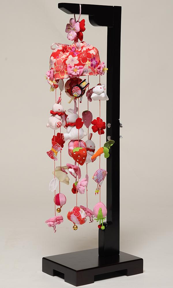 【つるし飾】【ひな人形】手毬と桜うさぎ(小):スタンド付【吊るし雛】【雛人形】