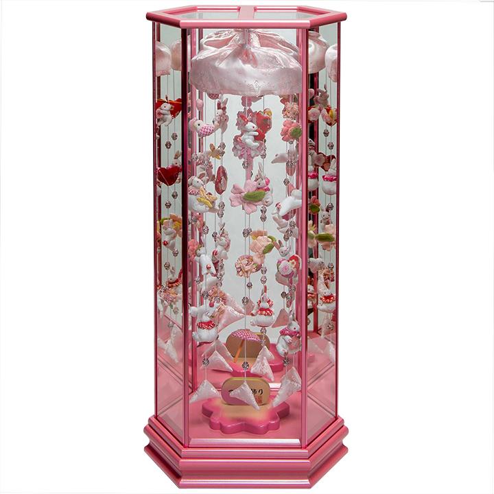 【雛人形】【つるし雛】クリスタル付うさぎのつるしピンクケース飾【吊るし雛】【ひな人形】