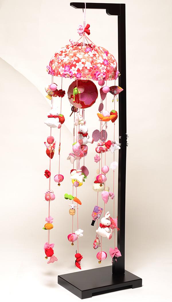 【つるし飾】【ひな人形】手毬と桜うさぎ(大):スタンド付【吊るし雛】【雛人形】