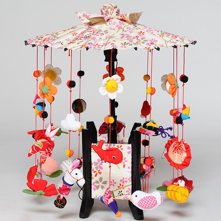 【つるし飾】【ひな人形】縁起の傘つるし「みやび白傘」大【吊るし雛】【雛人形】