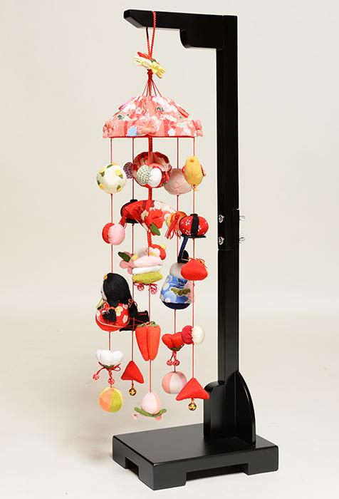 【つるし飾】【ひな人形】つるし雛傘付しあわせ雛:スタンド付(小)【吊るし雛】【雛人形】
