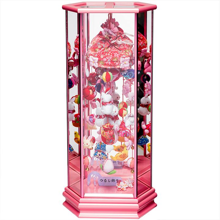 【ひな人形】うさぎと手まりロイヤルピンク六角鏡バックケース飾【吊るし雛】