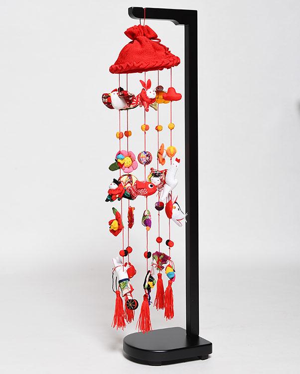 【ひな人形】つるし雛雅つるし飾り(23号赤傘)スタンド付【吊るし雛】
