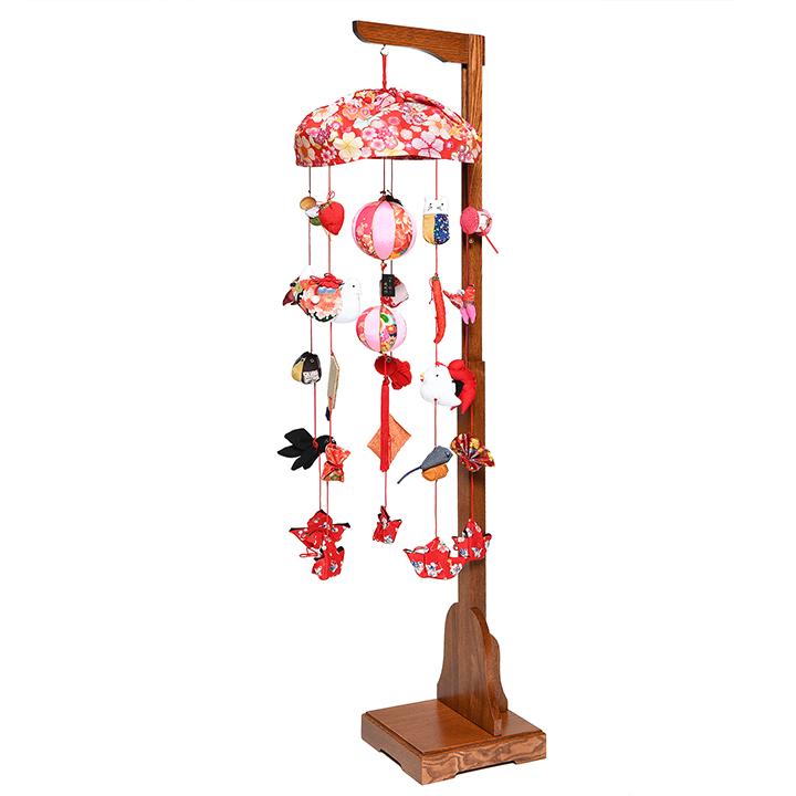 【つるし飾】【ひな人形】傘付古布調縮緬:《高さ最小75cm~最大125cm迄高さ調整スタンド付》【吊るし雛】【雛人形】