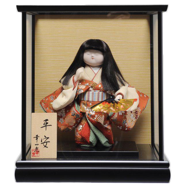 【わらべ人形】浮世・御所  6号平安御所 扇子:幸一光作【ひな人形】【浮世人形】