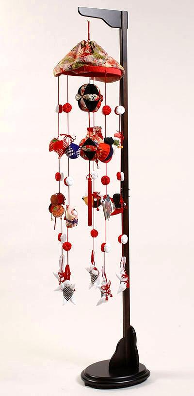 【つるし飾】【ひな人形】つるし雛 つるし雛:傘付縮緬(中):スタンド付【吊るし雛】【雛人形】