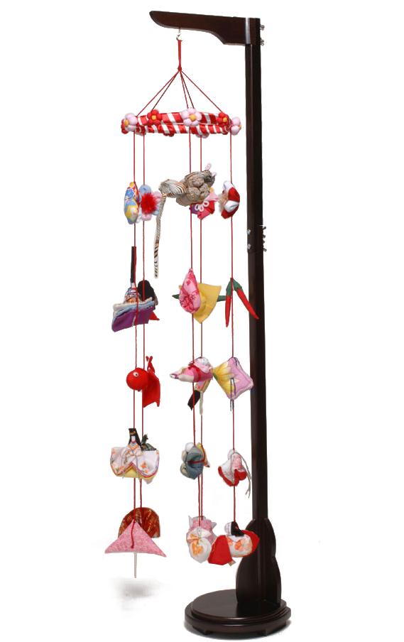 【つるし飾】【ひな人形】つるし雛 つるし雛:花付金襴:スタンド付【吊るし雛】【雛人形】
