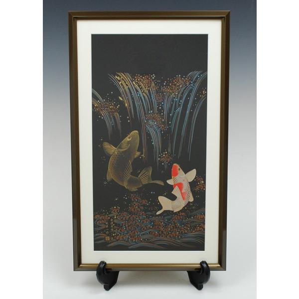 【縁起物】会津塗祝い絵 『鯉の滝のぼり』【領収書発行】