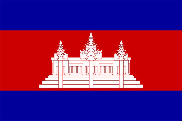 【外国旗】カンボジア国旗(アクリル) サイズ:90×135cm【領収書発行】