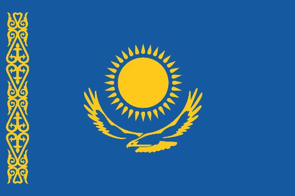 【外国旗】カザフスタン共和国国旗(アクリル) サイズ:90×135cm【領収書発行】