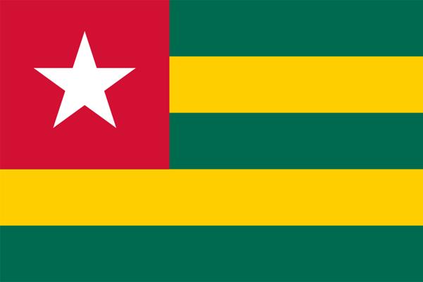 【外国旗】トーゴ共和国国旗(アクリル) サイズ:90×135cm【領収書発行】