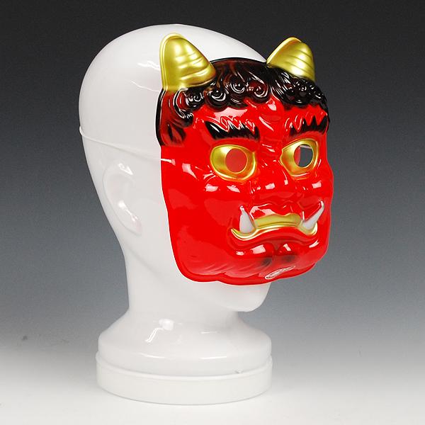 節分の日の装飾に活躍します お祭り用品 赤鬼面 メーカー再生品 プラスチック製 休み 節分の装飾 領収書発行 サイズ:大