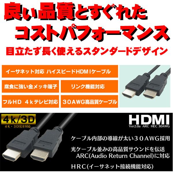 【楽天市場】4K対応 HDMIケーブル1mHDMIver2.0COMON(カモン) 2HDMI-10 4K対応・3D