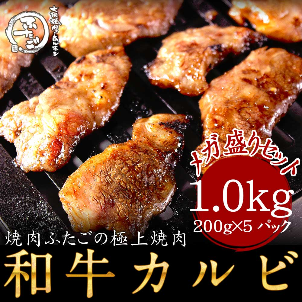 【送料無料】ふたごの和牛カルビ1.0kgメガ盛りセット(3~4人前) 厳選国産和牛 上品なサシ 焼肉・バーベキューBBQに! 和牛カルビ