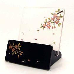 モダン見台 (過去帳台) 会津蒔絵 桜 黒塗 背低型 3.0寸 幅:約10cm