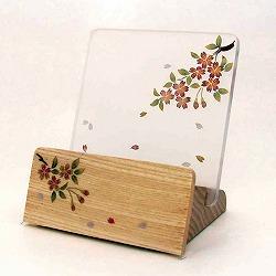 モダン見台 (過去帳台) 会津蒔絵 桜 ナチュラル 背低型 3.0寸 幅:約10cm
