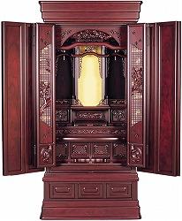 伝統型仏壇 梅山 紫檀 16号 花障子 別台 高130×幅55×奥50cm