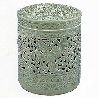【送料無料】【骨壷】 (骨瓶) 青磁 鳳凰 透かし(緑青磁) 5寸