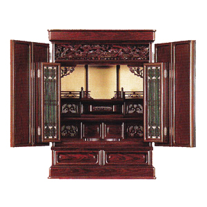 伝統型仏壇 ミニ 紫檀調 障子付 23号 高72×巾54×奥41cm