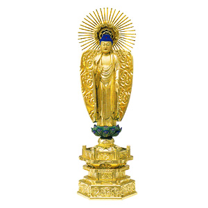 仏像 純金中七 阿弥陀如来像 浄土真宗 (西) 肌粉 3.5 青蓮華 高248×巾85×奥行58mm
