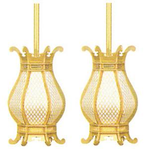 吊灯篭 利久型 大 消金 高170×巾100mm 真鍮
