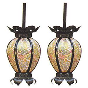 吊灯篭 陰雲型 彩色鳳凰透 中 イブシ 高144×巾87mm 真鍮