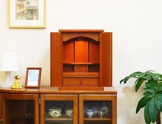 モダン仏壇 ミニ 白石 けやき色 ライト付 高さ48.5cm