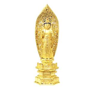 仏像 純金中七 聖観音菩薩 肌粉 4.5 高300×巾101×奥行69mm