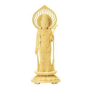 仏像 白木 丸台座 宝珠光背 聖観音菩薩 3.0 高160×巾60×奥行60mm
