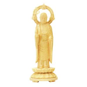 仏像 総柘植 地蔵菩薩 丸台 輪光背 4.5 高215×巾83×奥行83mm