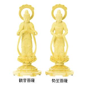 仏像 総白木 丸台座 観音菩薩・勢至菩薩 輪光背 木地仕上(対) 3.5