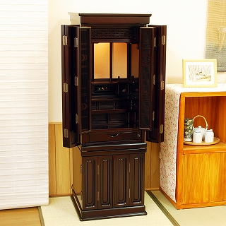 伝統型仏壇 松山 紫檀調 高さ130cm×幅45cm×奥行43cm