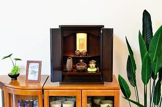 モダン仏壇 ミニ 白石 ダーク色 ライト付 仏壇セット 高さ48cm