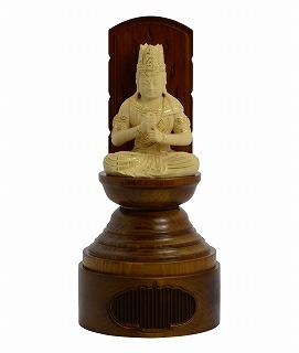 【送料無料】 仏像 木彫 大日如来 丸台座現代光背 ツゲ 25 総高25cm