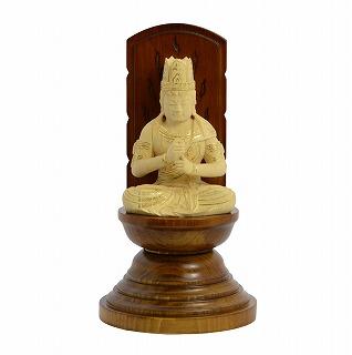 【送料無料】 仏像 木彫 大日如来 現代光背 ツゲ 25 総高20.4cm