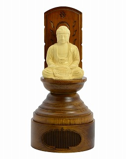 【送料無料】 仏像 木彫 座釈迦如来 丸台座現代光背 ツゲ 25 総高25cm