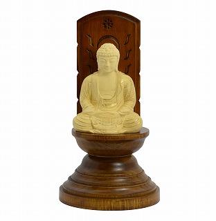 【送料無料】 仏像 木彫 座釈迦如来 現代光背 ツゲ 25 総高20.4cm