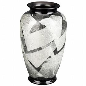 花瓶 九谷焼 銀彩 白磁(はくじ) 8号 高さ25.2cm